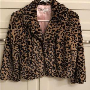 Cabi faux fur leopard print jacket sz small